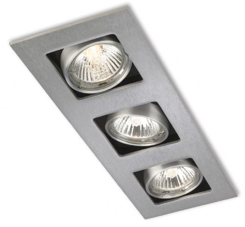Firstlight 1502BS Brushed Steel Cube 3 Light Downlight